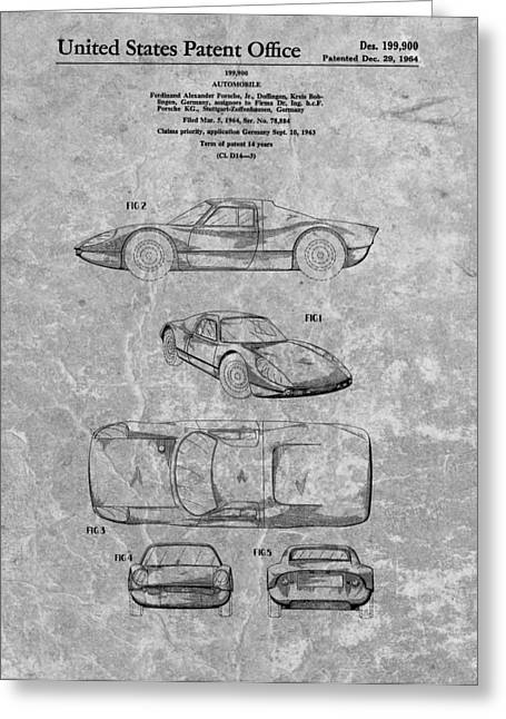 Charcoal Car Greeting Cards - 1964 Porsche Patent Charcoal Greeting Card by Dan Sproul