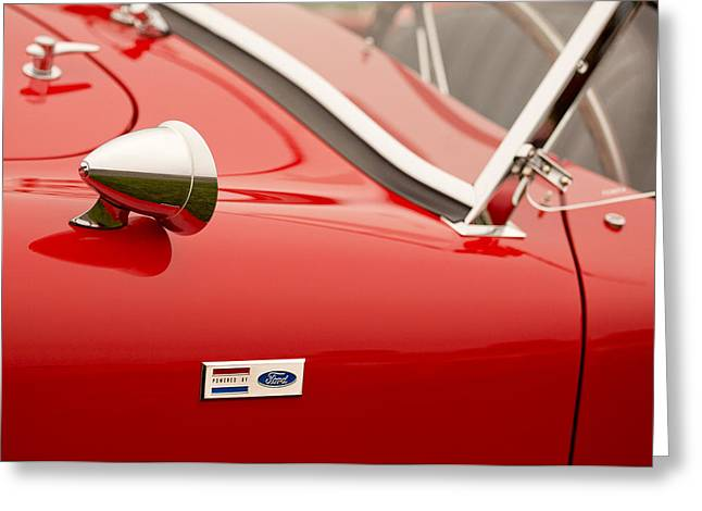 Car Show Photography Greeting Cards - 1964 Shelby Cobra 289 Street Roadster Emblem Greeting Card by Jill Reger