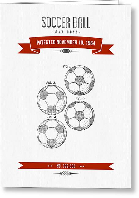 Player Digital Greeting Cards - 1964 Soccer Ball Patent Drawing - Retro Red Greeting Card by Aged Pixel