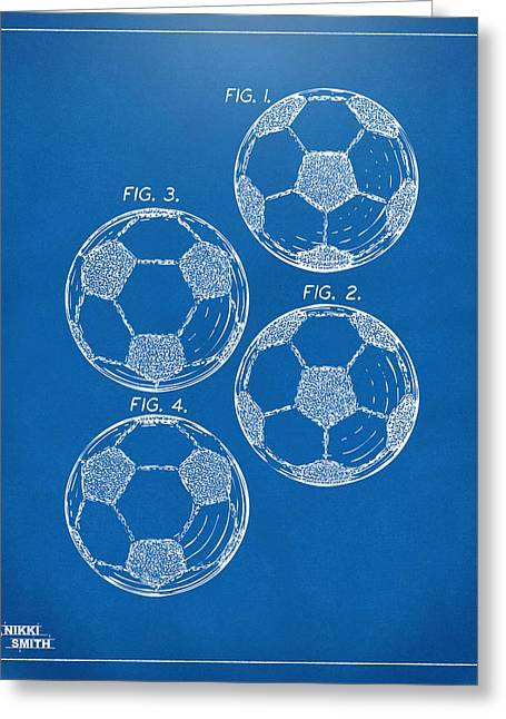 Football Art Greeting Cards - 1964 Soccerball Patent Artwork - Blueprint Greeting Card by Nikki Marie Smith
