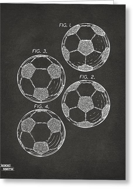 Sports Fan Greeting Cards - 1964 Soccerball Patent Artwork - Gray Greeting Card by Nikki Marie Smith