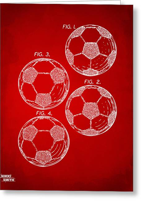 Football Art Greeting Cards - 1964 Soccerball Patent Artwork - Red Greeting Card by Nikki Marie Smith