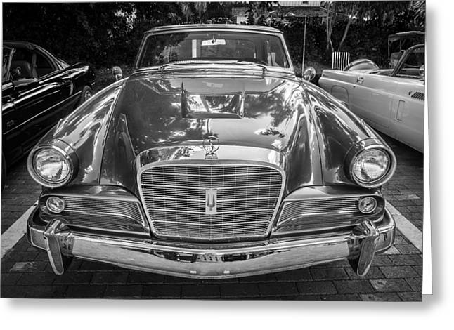 Turismo Greeting Cards - 1964 Studebaker Golden Hawk GT BW  Greeting Card by Rich Franco