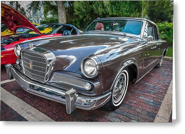 Turismo Greeting Cards - 1964 Studebaker Golden Hawk GT Painted Greeting Card by Rich Franco
