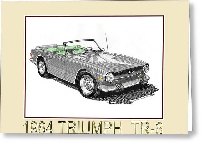 Drop Drawings Greeting Cards - 1964 Triumph T R 6 Greeting Card by Jack Pumphrey