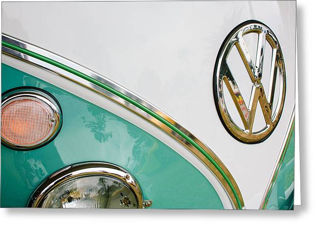 21 Greeting Cards - 1964 Volkswagen Samba 21 Window Bus VW Emblem Greeting Card by Jill Reger