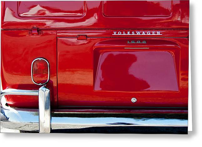 Classic Pickup Greeting Cards - 1964 Volkswagen Transporter Deluxe Double Cab Pickup Taillight Emblem Greeting Card by Jill Reger