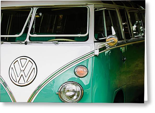 21 Greeting Cards - 1964 Volkswagen VW Samba 21 Window Bus Greeting Card by Jill Reger