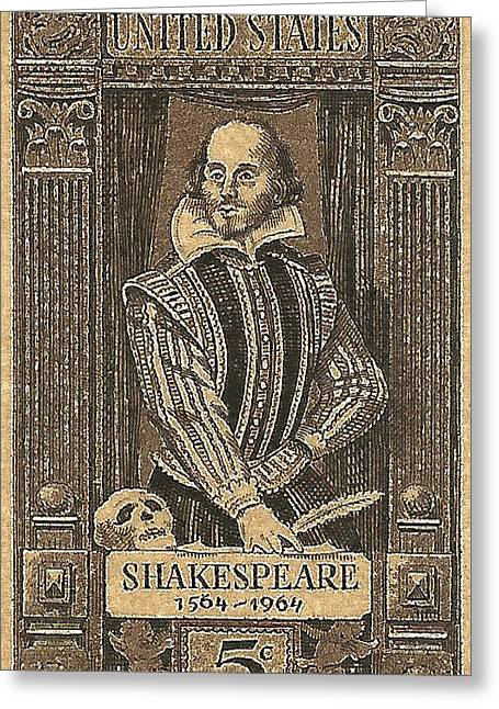 Old Stamps Greeting Cards - 1964 William Shakespeare Postage Stamp Greeting Card by David Patterson