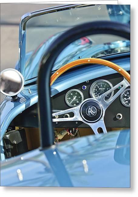 Ac Greeting Cards - 1965 AC Cobra Steering Wheel 4 Greeting Card by Jill Reger