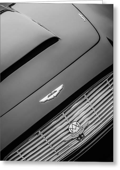 1965 Aston Martin Short Chassis Volante Hood Emblem -1172bw Greeting Card by Jill Reger