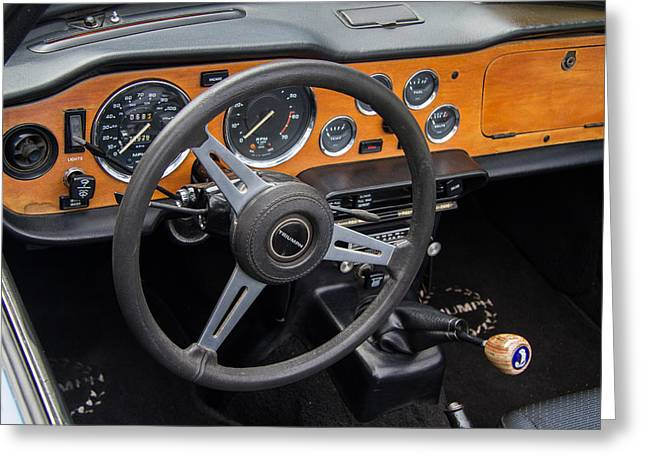 Steering Greeting Cards - 1965 Austin Healey Interior Greeting Card by Roger Mullenhour