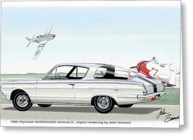 1965 Barracuda  Classic Plymouth Muscle Car Greeting Card by John Samsen