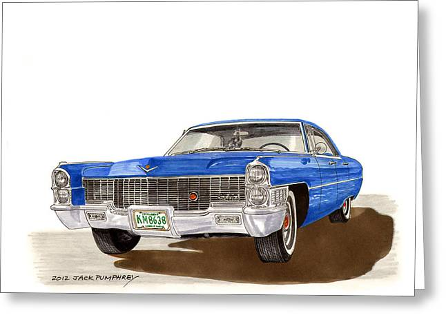 Pen And Ink Framed Prints Greeting Cards - 1965 Cadillac DeVille Sedan Greeting Card by Jack Pumphrey