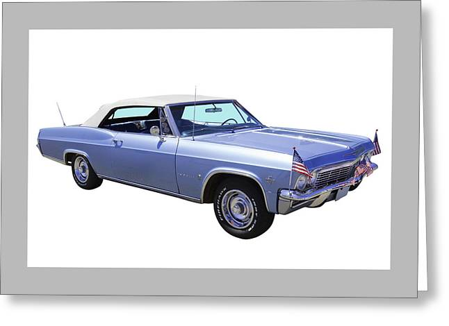 Blue Classic Car Greeting Cards - 1965 Chevy Impala 327 Convertible Greeting Card by Keith Webber Jr