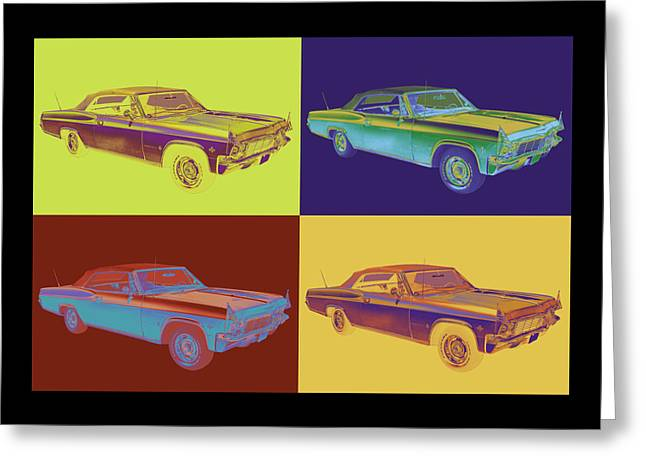 Sized Greeting Cards - 1965 Chevy Impala 327 Convertible Pop Art Greeting Card by Keith Webber Jr