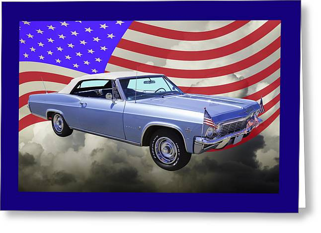 Blue Classic Car Greeting Cards - 1965 Chevy Impala 327 With United States Flag Greeting Card by Keith Webber Jr