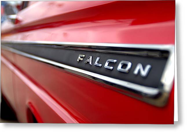 Red Falcon Greeting Cards - 1965 Ford Falcon Name Plate Greeting Card by Brian Harig