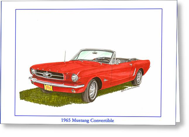 Bitchin Greeting Cards - 1965 Ford Mustang Convertible PONY CAR Greeting Card by Jack Pumphrey