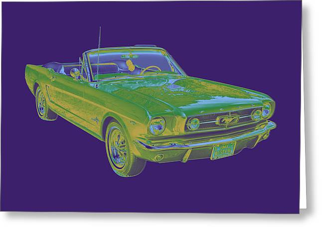 Collectible Sports Art Greeting Cards - 1965 Ford Mustang Convertible Pop Image Greeting Card by Keith Webber Jr
