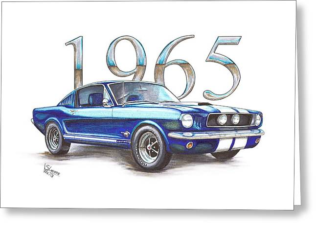 Chip Mixed Media Greeting Cards - 1965 Ford Mustang Fastback Greeting Card by Shannon Watts