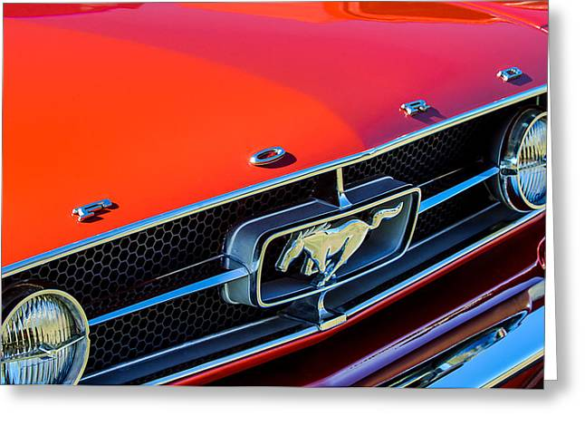 1965 Ford Mustang Greeting Cards - 1965 Ford Mustang Grille Emblem Greeting Card by Jill Reger