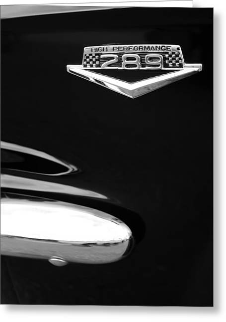 1965 Mustang Greeting Cards - 1965 Ford Mustang GT 289 Emblem -0309bw Greeting Card by Jill Reger