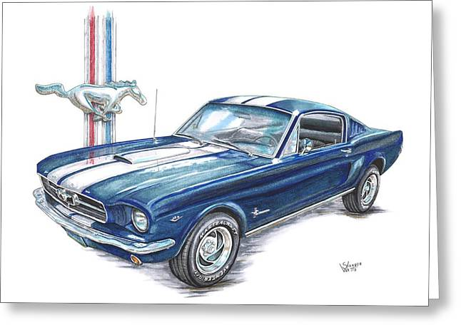 Shannon Greeting Cards - 1965 Ford Mustang Greeting Card by Shannon Watts