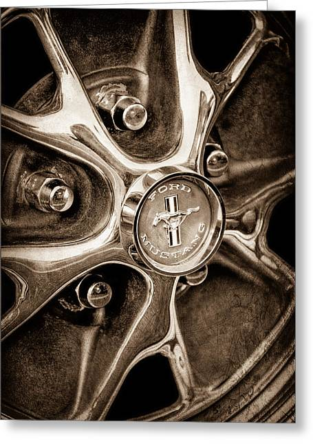 1965 Mustang Greeting Cards - 1965 Ford Mustang Wheel Emblem Greeting Card by Jill Reger