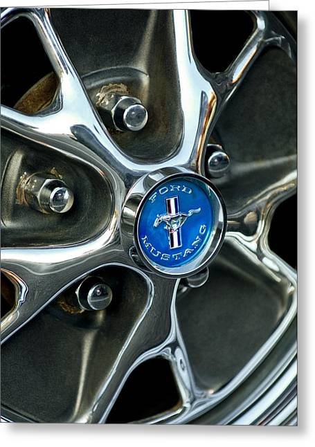 1965 Mustang Greeting Cards - 1965 Ford Mustang Wheel Rim Greeting Card by Jill Reger