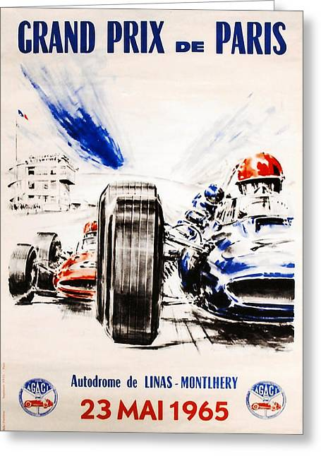Stirling Moss Greeting Cards - 1965 Grand Prix de Paris Greeting Card by Nomad Art And  Design