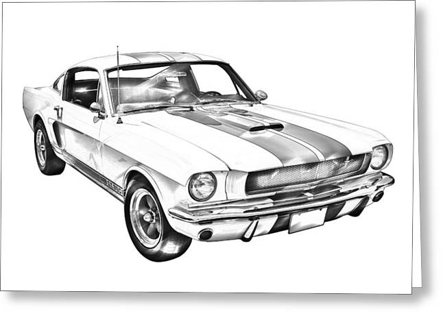Line Drawings Greeting Cards - 1965 GT350 Mustang Muscle Car Illustration Greeting Card by Keith Webber Jr