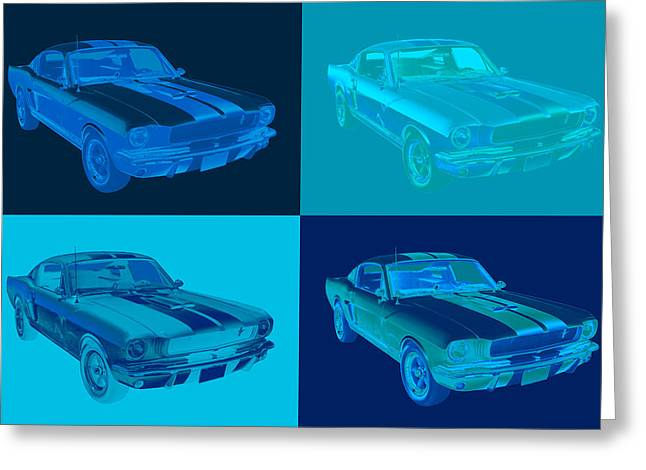 Gt-350 Greeting Cards - 1965 GT350 Mustang Muscle Car Pop Art Greeting Card by Keith Webber Jr