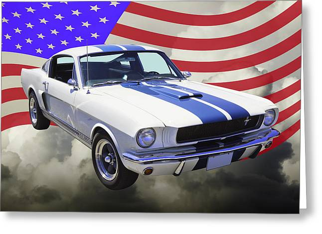 Timer Greeting Cards - 1965 GT350 Mustang Muscle Car With American Flag Greeting Card by Keith Webber Jr