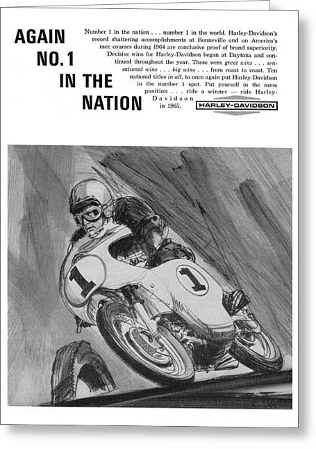 1963 Sprint Greeting Cards - 1965 Harley Davidson Greeting Card by Digital Repro Depot