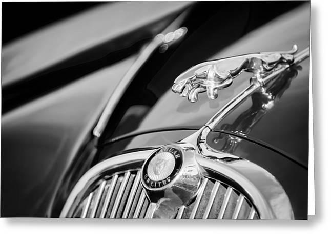Saloons Greeting Cards - 1965 Jaguar S-Saloon Hood Ornament - Emblem -1220bw Greeting Card by Jill Reger