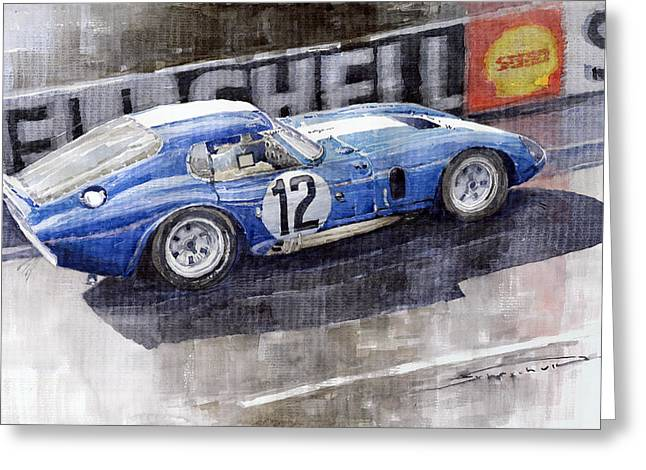 Blue Car. Greeting Cards - 1965 Le Mans  Daytona Cobra Coupe  Greeting Card by Yuriy Shevchuk