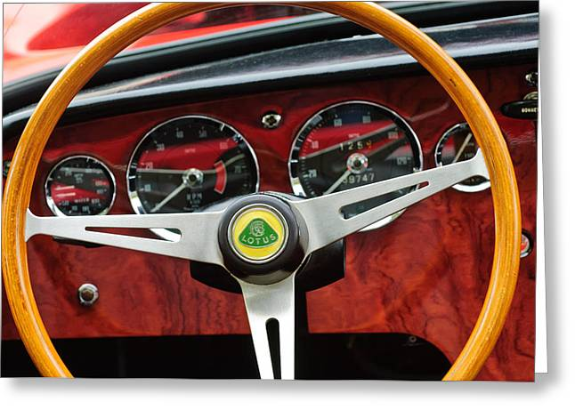 1965 Lotus Elan S2 Steering Wheel Emblem Greeting Cards - 1965 Lotus Elan S2 Steering Wheel Emblem Greeting Card by Jill Reger