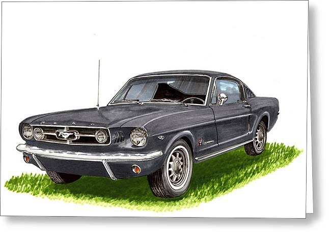 Stretching Drawings Greeting Cards - 1965 Mustang Fastback Greeting Card by Jack Pumphrey