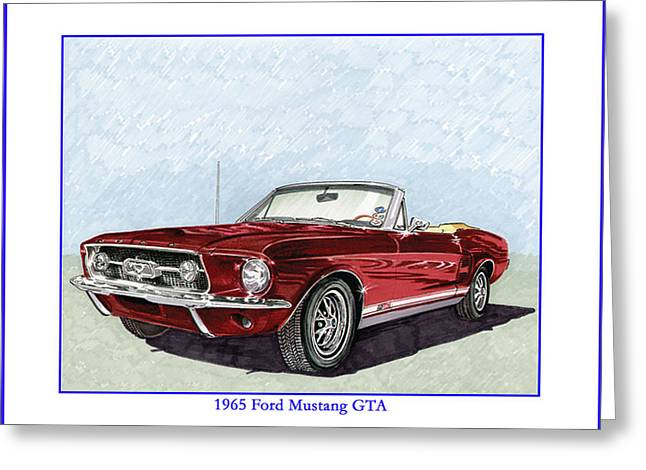 Shiny Drawings Greeting Cards - 1965 Mustang G T A Convertible Greeting Card by Jack Pumphrey