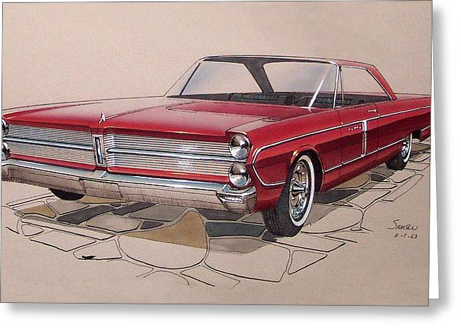 Automotive History Greeting Cards - 1965 PLYMOUTH FURY  vintage styling design concept rendering sketch Greeting Card by John Samsen