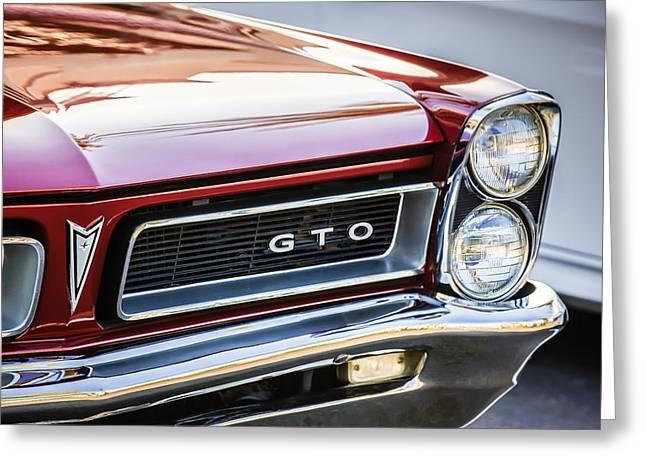Pontiac Gto Greeting Cards - 1965 Pontiac GTO Grille Emblem -0442c Greeting Card by Jill Reger