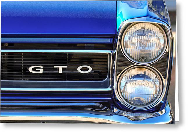 Headlight Greeting Cards - 1965 Pontiac GTO Grille Emblem - Headlight Greeting Card by Jill Reger