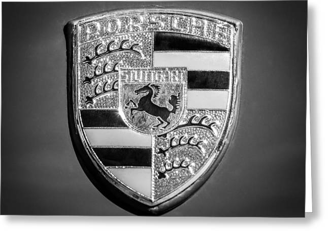 Famous Photographers Greeting Cards - 1965 Porsche 911 2.0 Coupe Emblem -0951bw55 Greeting Card by Jill Reger