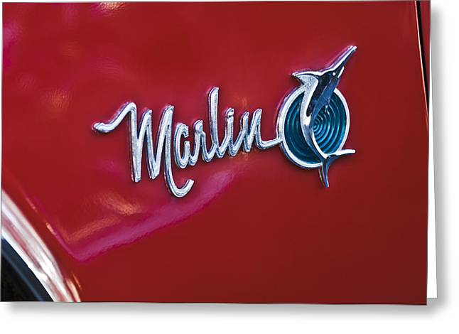 Marlin Greeting Cards - 1965 Rambler Marlin Emblem Greeting Card by Jill Reger