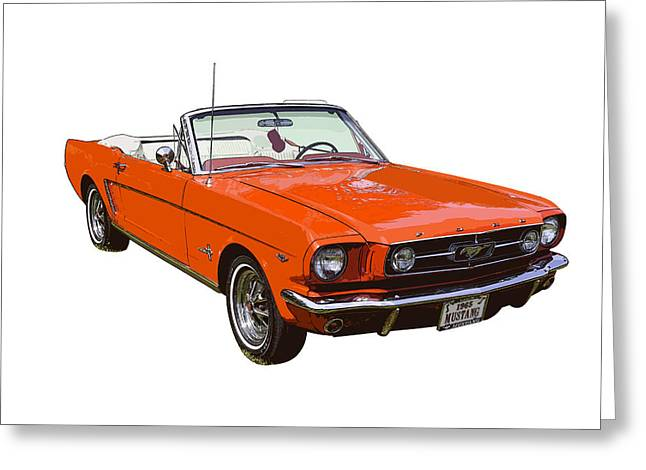 American Automobiles Greeting Cards - 1965 Red Convertible Ford Mustang - Classic Car Greeting Card by Keith Webber Jr