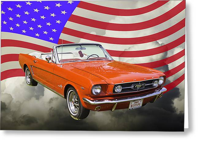 Old Auto Greeting Cards - 1965 Red Ford Mustang Convertible And American Flag Photo Greeting Card by Keith Webber Jr