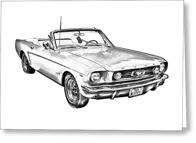 Old Auto Greeting Cards - 1965 Red Ford Mustang Convertible Drawing Greeting Card by Keith Webber Jr