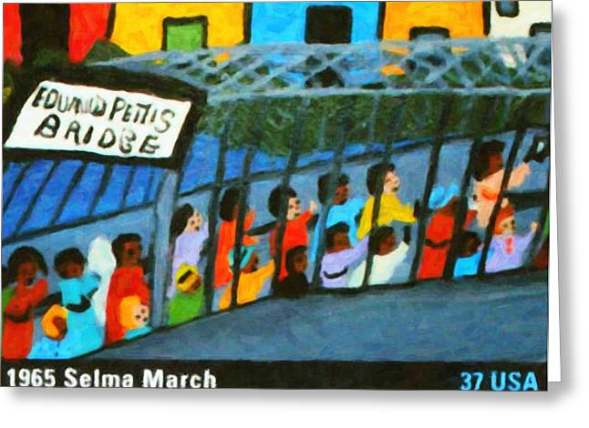 Civil Rights Greeting Cards - 1965 Selma March Greeting Card by Lanjee Chee