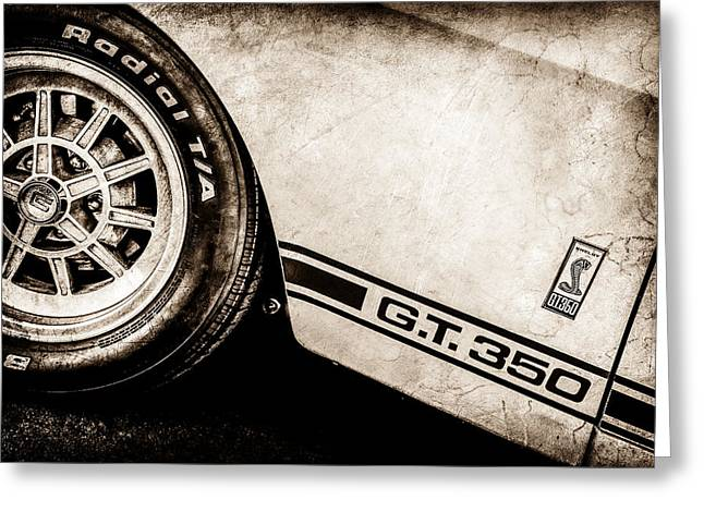 Shelby 350 Greeting Cards - 1965 Shelby GT350 Side Emblem -0775s Greeting Card by Jill Reger